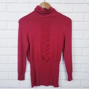 Express Red Turtle Neck Cinched Waist Sweater
